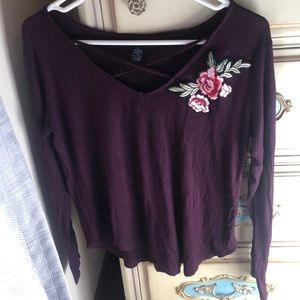 burgundy long sleeved top